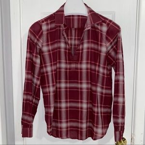 🎁 LOFT burgundy and white plaid top